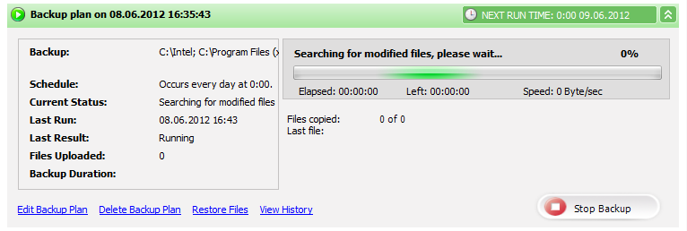 Offsite Backup Screenshot